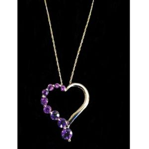 10K White Gold Amethyst Heart Necklace 19""